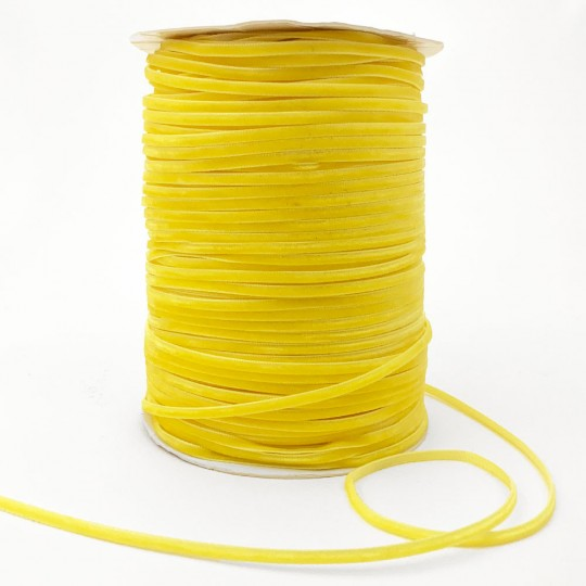 "Tiny Velvet Ribbon Trim in Bright Yellow ~ 1/8"" wide"