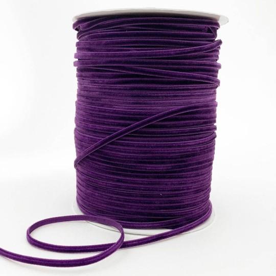 "Tiny Velvet Ribbon Trim in Dark Amethyst ~ 1/8"" wide"