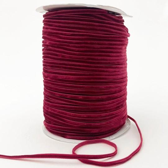 "Tiny Velvet Ribbon Trim in Dark Raspberry ~ 1/8"" wide"