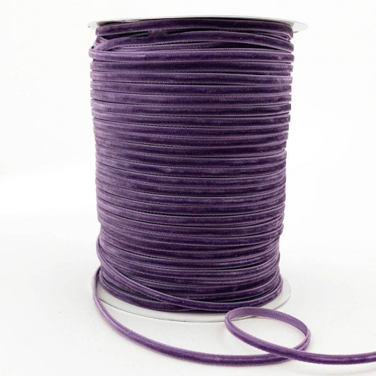 "Tiny Velvet Ribbon Trim in Dusty Purple ~ 1/8"" wide"