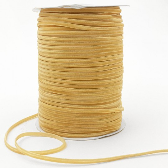 """Tiny Velvet Ribbon Trim in Light Honey Gold ~ 1/8"""" wide"""