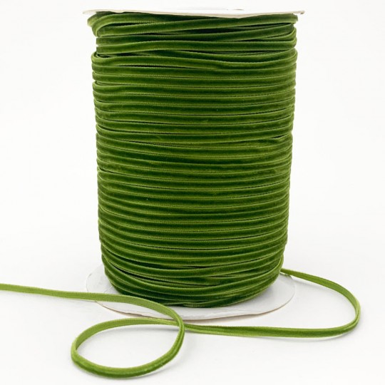 "Tiny Velvet Ribbon Trim in Moss Green ~ 1/8"" wide"