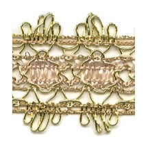 Fancy Woven Ivory and Antique Gold Metallic Trim ~ Vintage