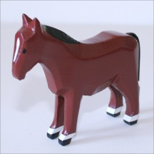 "Handpainted Wooden Horse ~ 2-1/4"" ~ Made in Erzgebirge Germany"