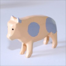 "Handpainted Wooden Pig ~ 1-3/8"" ~ Made in Erzgebirge Germany"