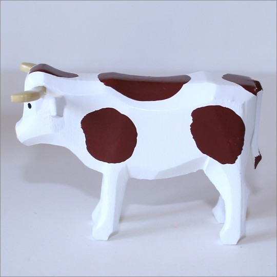 "Handpainted Wooden Cow ~ 1-3/4"" ~ Made in Erzgebirge Germany"