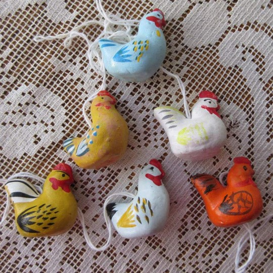 6 Folkloric Pottery Chicks Handpainted Ornaments ~ Sweden