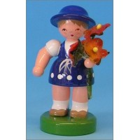 Wooden Flower Girl with Blue Dress and Orange Flowers ~ Made in Erzgebirge Germany
