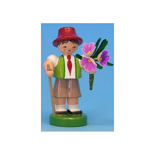 Wooden Flower Boy with Green Vest and Pink Flowers ~ Made in Erzgebirge Germany