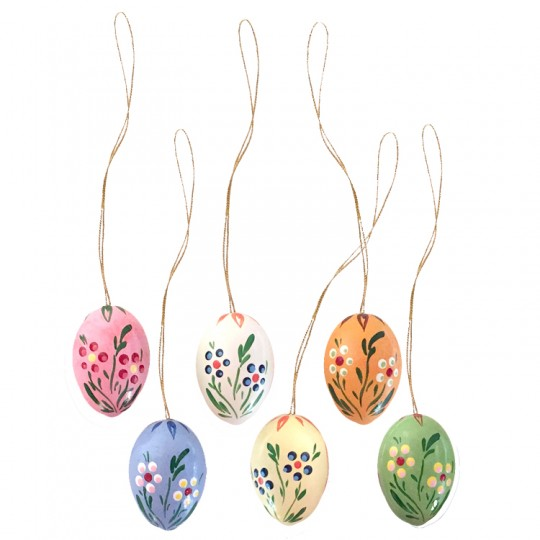 Set of 6 Wooden Easter Egg Ornaments ~ Made in Erzgebirge Germany