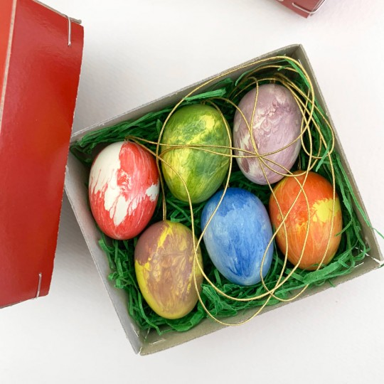 Set of 6 Marbeled Wooden Easter Egg Ornaments ~ Made in Erzgebirge Germany