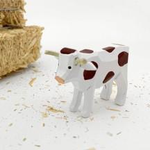 "Handpainted Wooden Cow ~ 1-3/4"" ~ Made in Erzgebirge Germany"