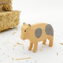 "Handpainted Wooden Pig ~ 1-3/8"" ~ Made in Erzgebirge Germany"