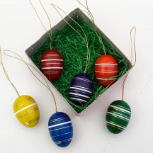 Set of 6 Colorful Striped Wooden Easter Egg Ornaments ~ Made in Erzgebirge Germany