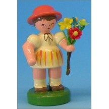 Wooden Flower Girl with Yellow Dress ~ Made in Erzgebirge Germany