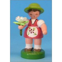 Wooden Flower Girl with Pink Dress and White Flower ~ Made in Erzgebirge Germany
