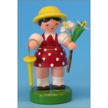 Wooden Flower Girl with Umbrella ~ Made in Erzgebirge Germany