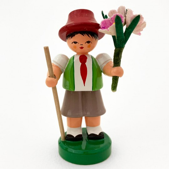 Wooden Flower Boy with Green Vest and Pink Flowers ~ Blumenjunge Made in Erzgebirge Germany