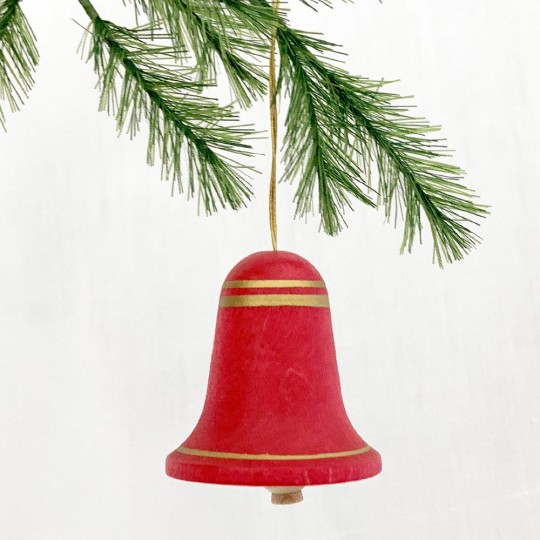 Set of 6 Red Wooden Bell Ornaments ~ Made in Erzgebirge Germany