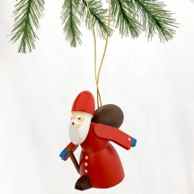 Red Wooden Santa Ornament ~ Made in Erzgebirge Germany