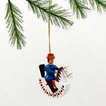 Blue Wooden Horse Rider Ornament ~ Made in Erzgebirge Germany