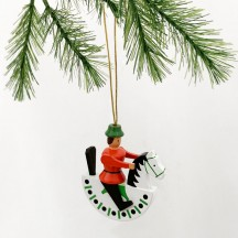 Red Wooden Horse Rider Ornament ~ Made in Erzgebirge Germany