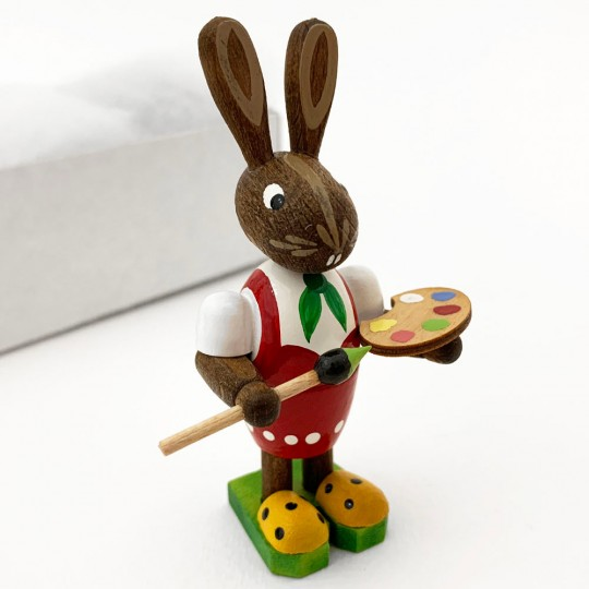 Wooden Easter Bunnies with Egg and Paintbrush ~ Set of 2 ~ Made in Erzgebirge Germany