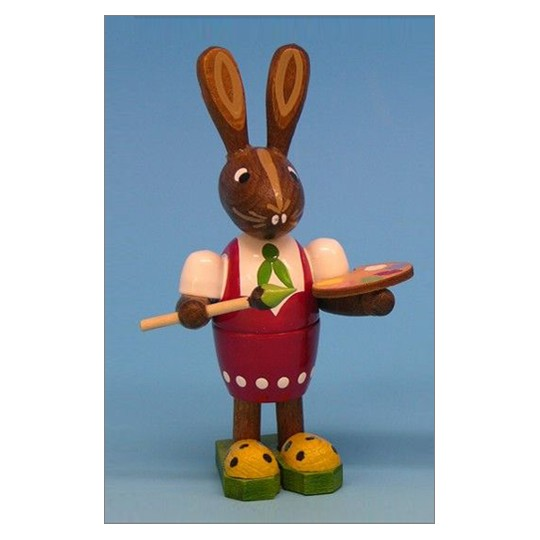 Wooden Easter Bunny with Paintbrush ~ Made in Erzgebirge Germany