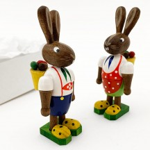 Wooden Bunnies with Egg Backpacks ~ Set of 2 ~ Made in Erzgebirge Germany