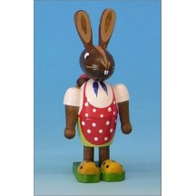 Wooden Bunny Girl with Egg Basket Backpack ~ Made in Erzgebirge Germany