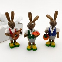 Wooden Easter Bunny Trio ~ Set of 3 ~ Made in Erzgebirge Germany