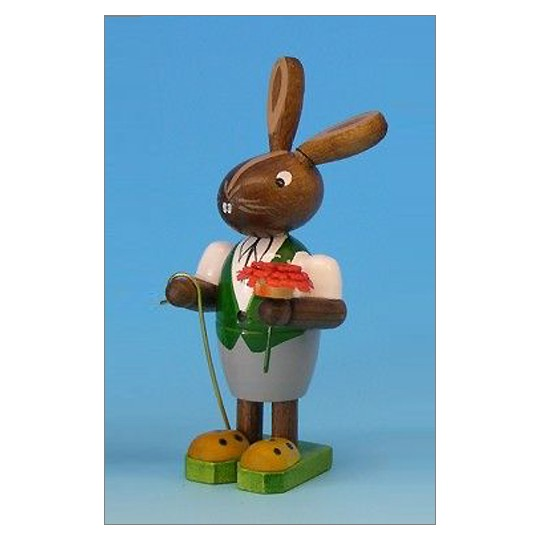 Wooden Easter Bunny with Flower ~ Made in Erzgebirge Germany