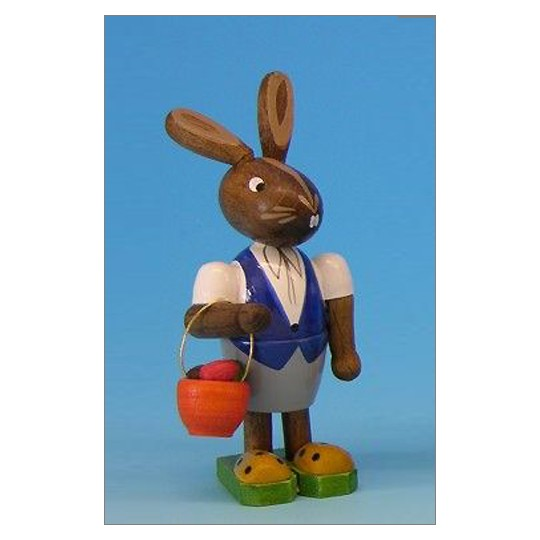 Wooden Easter Bunny with Orange Egg Basket ~ Made in Erzgebirge Germany