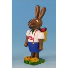 Wooden Bunny Boy with Egg Basket Backpack ~ Made in Erzgebirge Germany