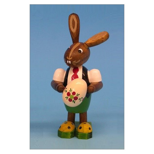 Wooden Easter Bunny with Egg ~ Made in Erzgebirge Germany
