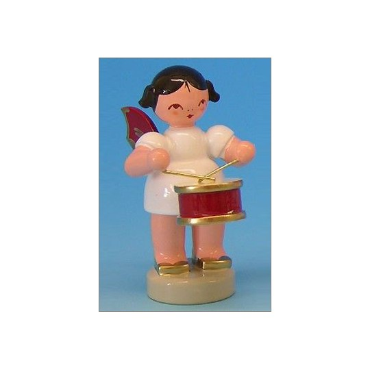 Wooden Angel Playing Drum Made in Erzgebirge Germany ~ Red Wings