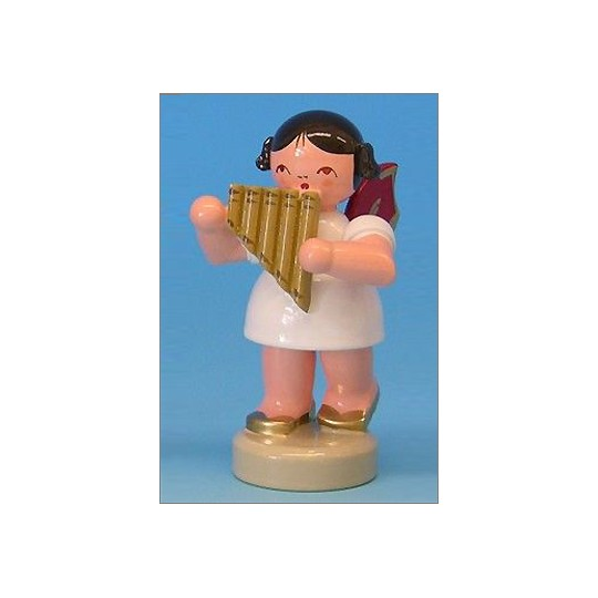 Wooden Angel Playing Panpipes Made in Erzgebirge Germany ~ Red Wings