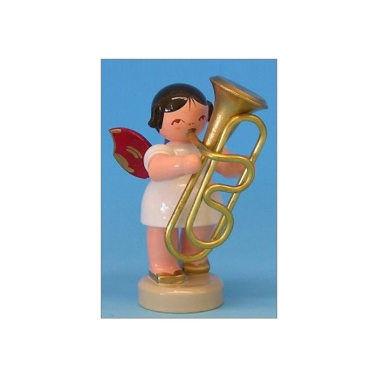 Wooden Angel with Tuba Made in Erzgebirge Germany ~ Red Wings