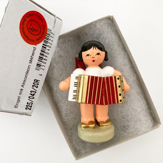 Wooden Angel with Accordion Made in Erzgebirge Germany ~ Red Wings