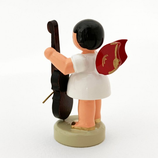 Wooden Angel with Cello Made in Erzgebirge Germany ~ Red Wings