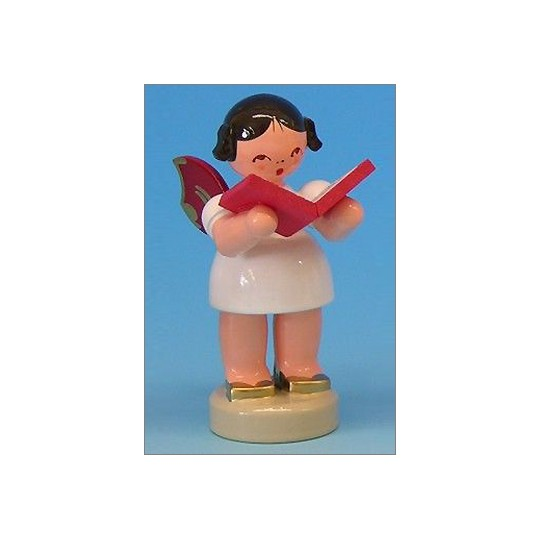 Wooden Angel with Songbook Made in Erzgebirge Germany ~ Red Wings