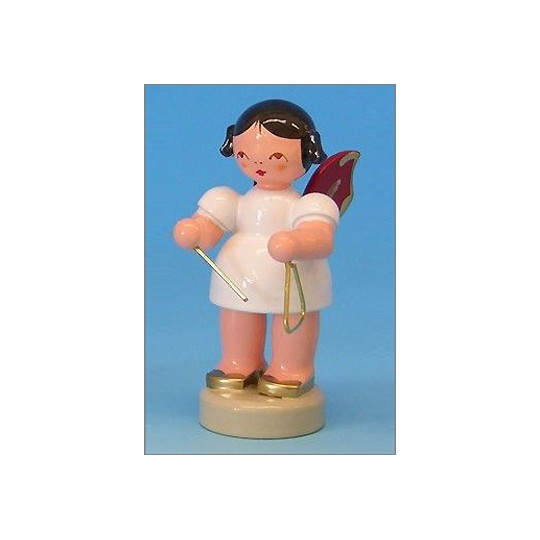 Wooden Angel with Triangle Made in Erzgebirge Germany ~ Red Wings