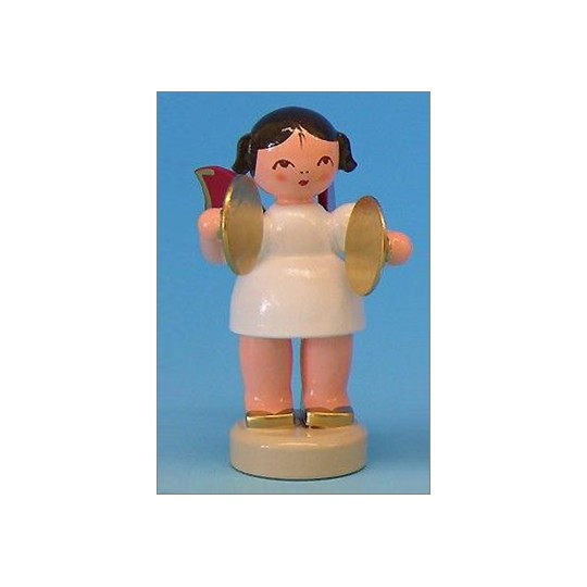 Wooden Angel with Cymbals Made in Erzgebirge Germany ~ Red Wings