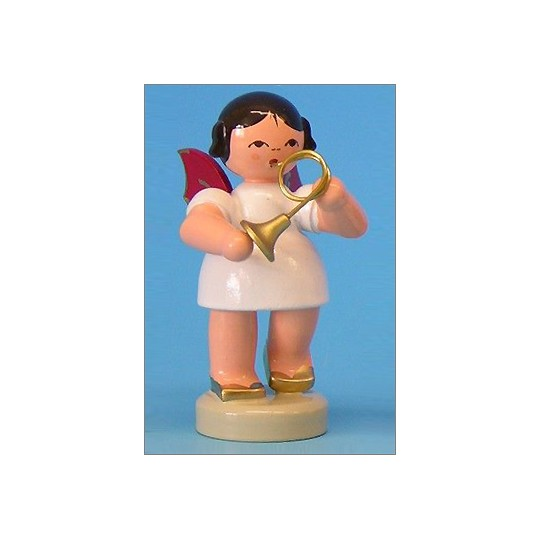 Wooden Angel with French Horn Made in Erzgebirge Germany ~ Red Wings