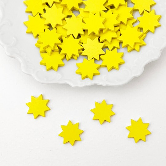 Miniature Wooden Yellow Stars ~ Set of 4 ~ Made in Erzgebirge Germany ~ Repair Supply