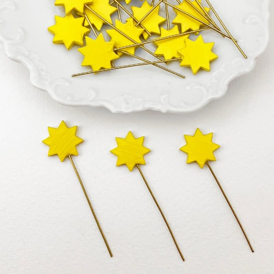 Miniature Wooden Yellow Star on Stick ~ Made in Erzgebirge Germany ~ Repair Supply