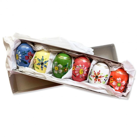 Set of 6 Large Fancy Floral Wooden Easter Egg Ornaments ~ Made in Erzgebirge Germany