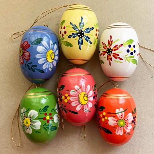 Set of 6 Large Fancy Floral Wooden Easter Egg Ornaments ~ Made in Erzgebirge Germany