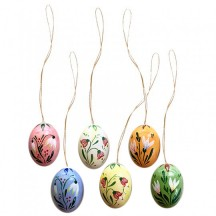 Set of 6 Wooden Mixed Flowers Easter Egg Ornaments ~ Made in Erzgebirge Germany