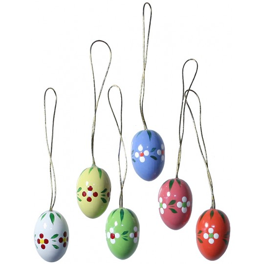 Set of 6 Petite Wooden Easter Egg Ornaments ~ Made in Erzgebirge Germany